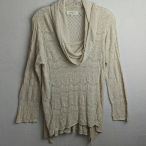 Umgee cream cowl neck lace sweater size 1xl